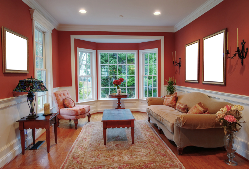 Living Room Interior With Bay Window