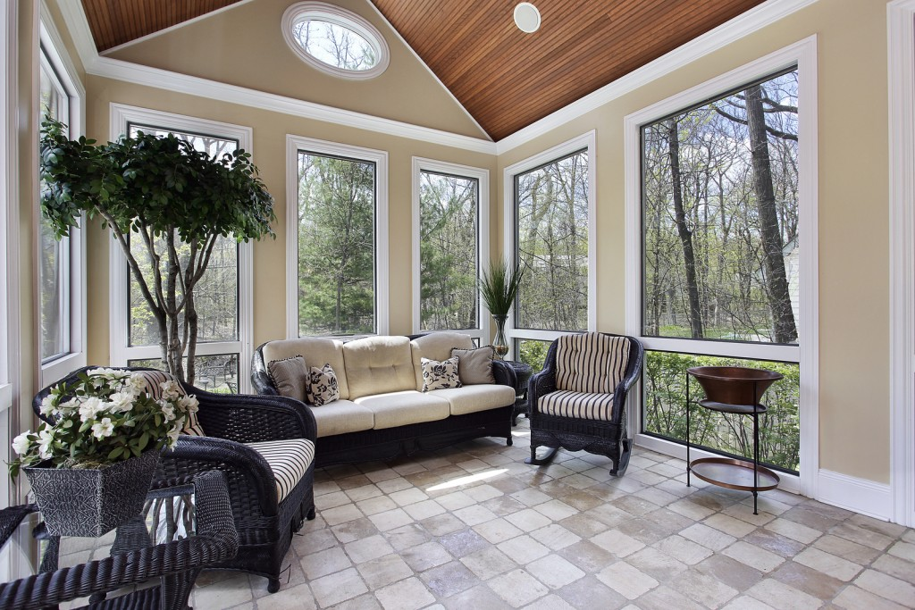 Sun room in luxury home with circular window
