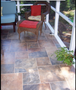custom tile floor screened porch