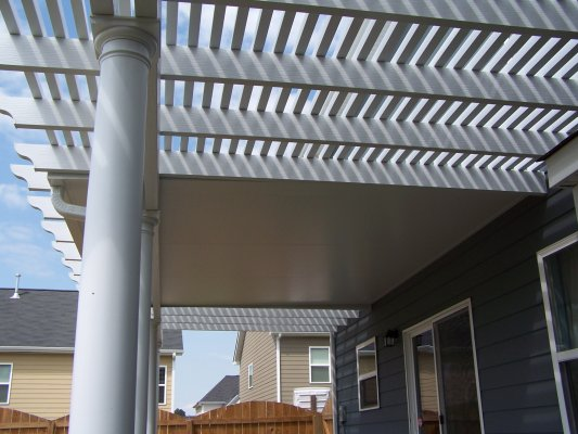 Insulated patio cover with lattice shade cover