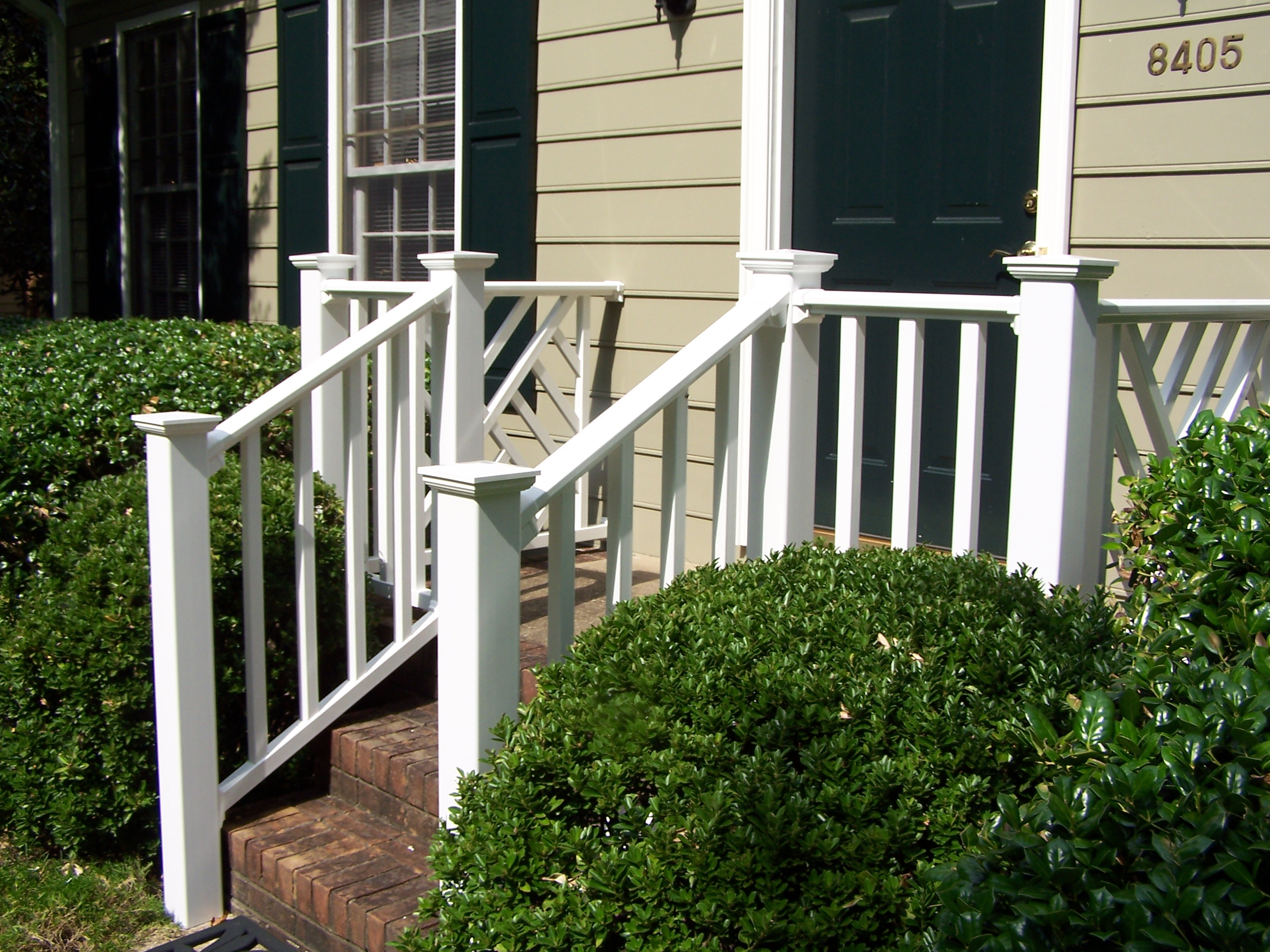front porch with white railing in raleigh in durham north carolina